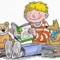 cartoon of child reading