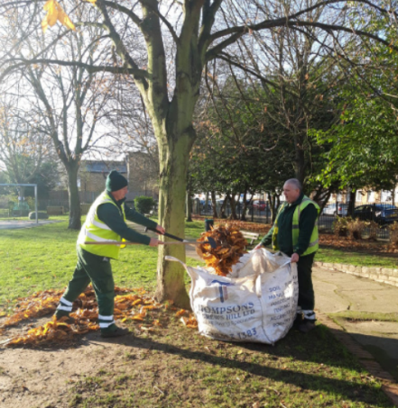 Workers cleaning up leaves